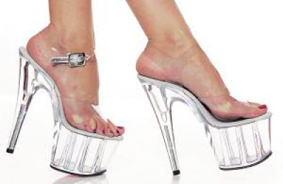 """Pleaser"""" - 6 3/4"""" Heel Sandal w/Clear Platform and Ankle Buckle -"""