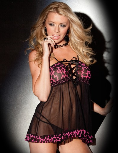 Hot Pink Lace Up Baby Doll