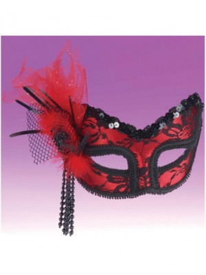 Neon red lace mask